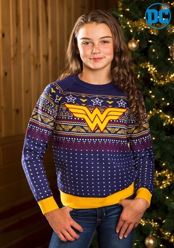 Child Wonder Woman Navy Ugly Christmas Sweater update1