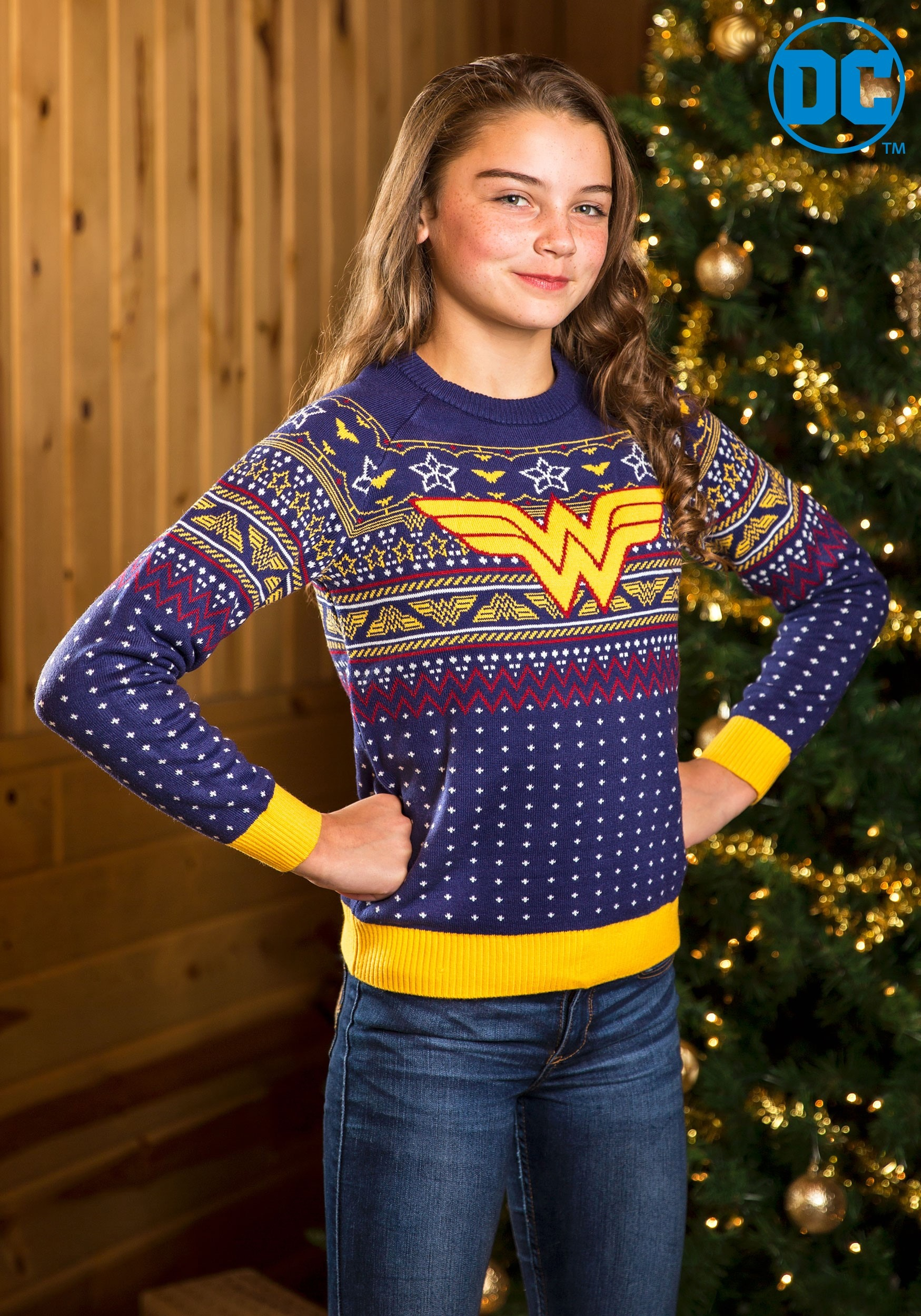 child wonder woman navy ugly christmas sweater alt11