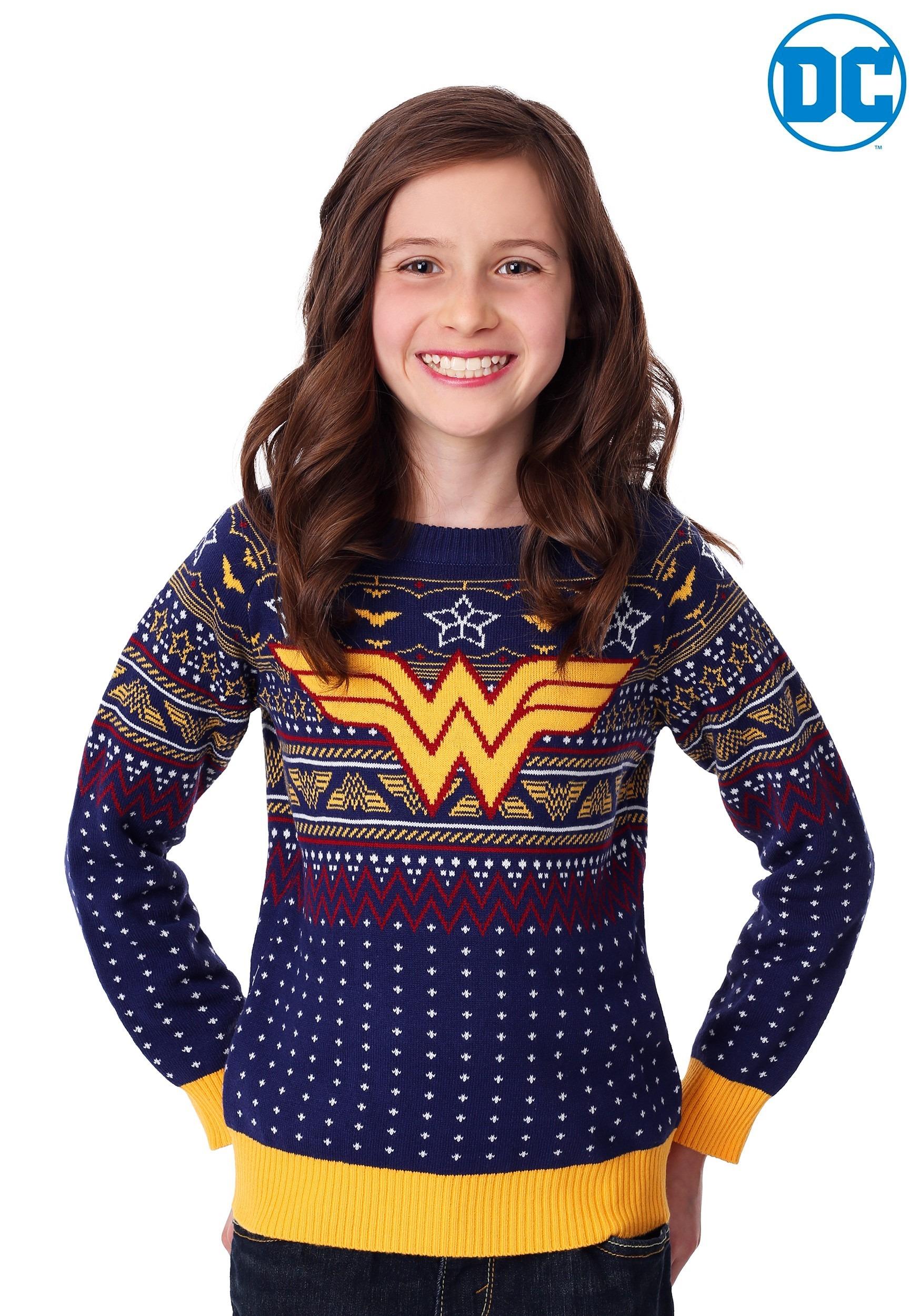 Ugly Christmas Sweater Kids.Child Wonder Woman Navy Ugly Christmas Sweater