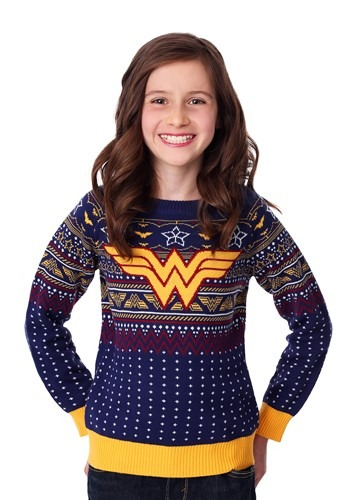 Navy Wonder Woman Child Ugly Christmas Sweater