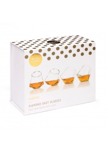 Set of 4 Diamond Shot Glasses