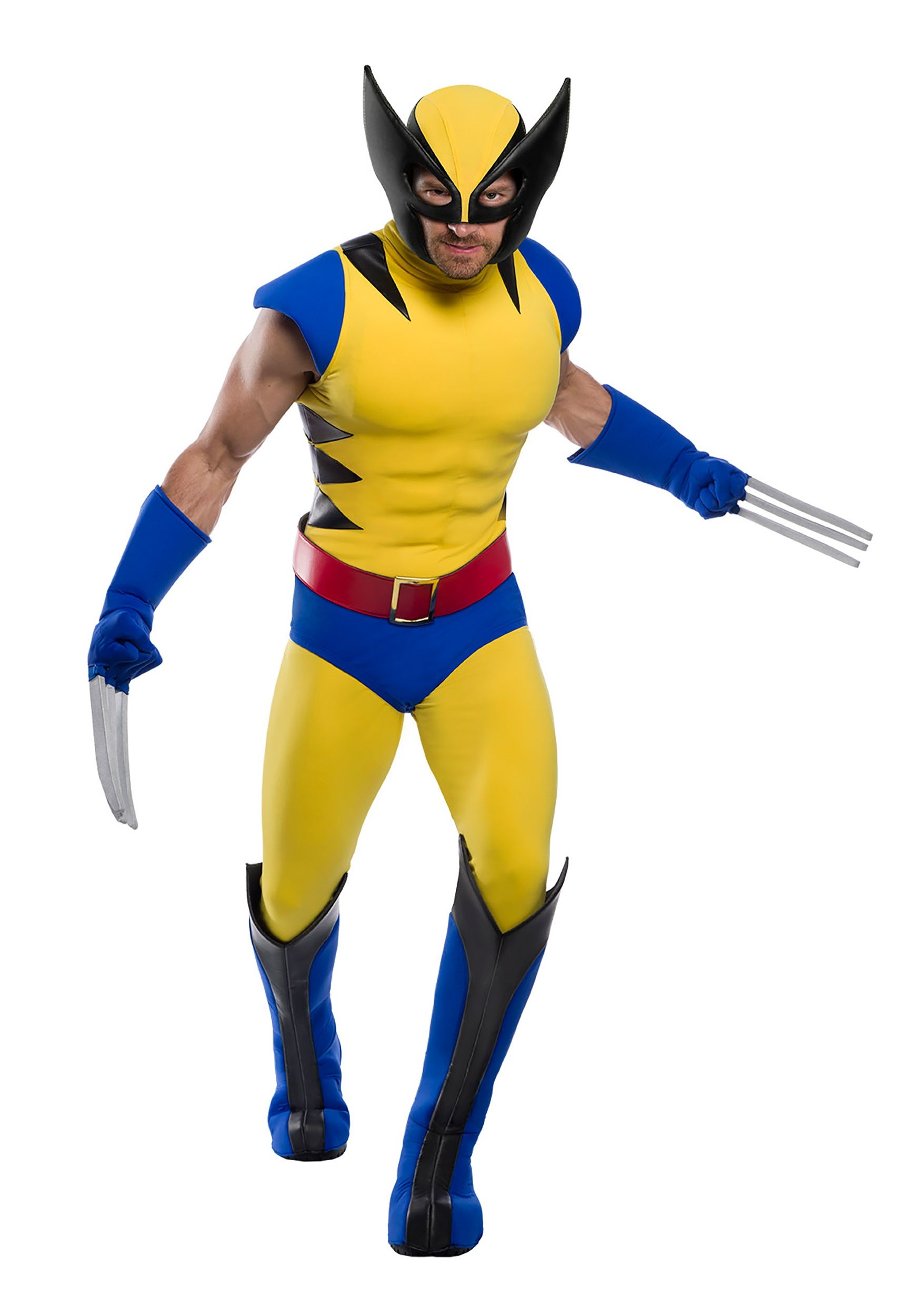 Premium Marvel Plus Size Wolverine Costume Fun Com Exclusive Shoes cover, gloves, belt, top, pants, waistcoat. premium adult plus size wolverine costume