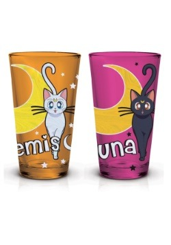 Sailor Moon Artemis & Luna Foil Pint Glass Set