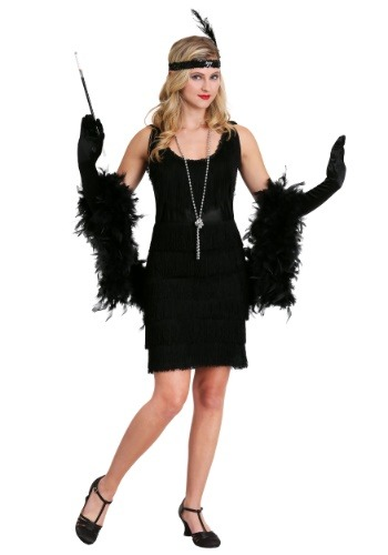 Womens Black Fringe 1920's Flapper Costume Update1