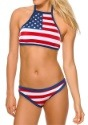 Women's USA Flag High-Neck Halter Top Bikini