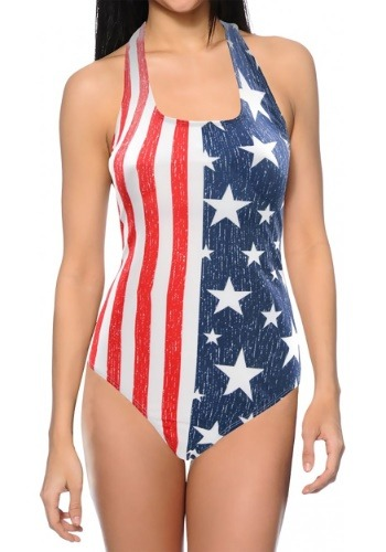 Women's USA Flag One-Piece Tank Swimsuit