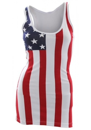 Womens USA Flag Long Tank Top