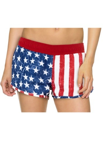 Womens USA Flag 4 Way Stretch Shorts