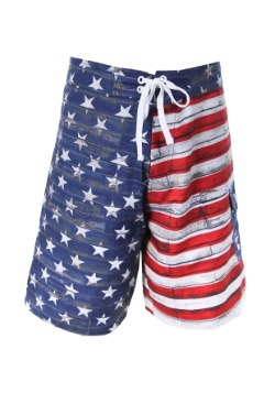 Mens Distressed USA Flag Swim Board Shorts1