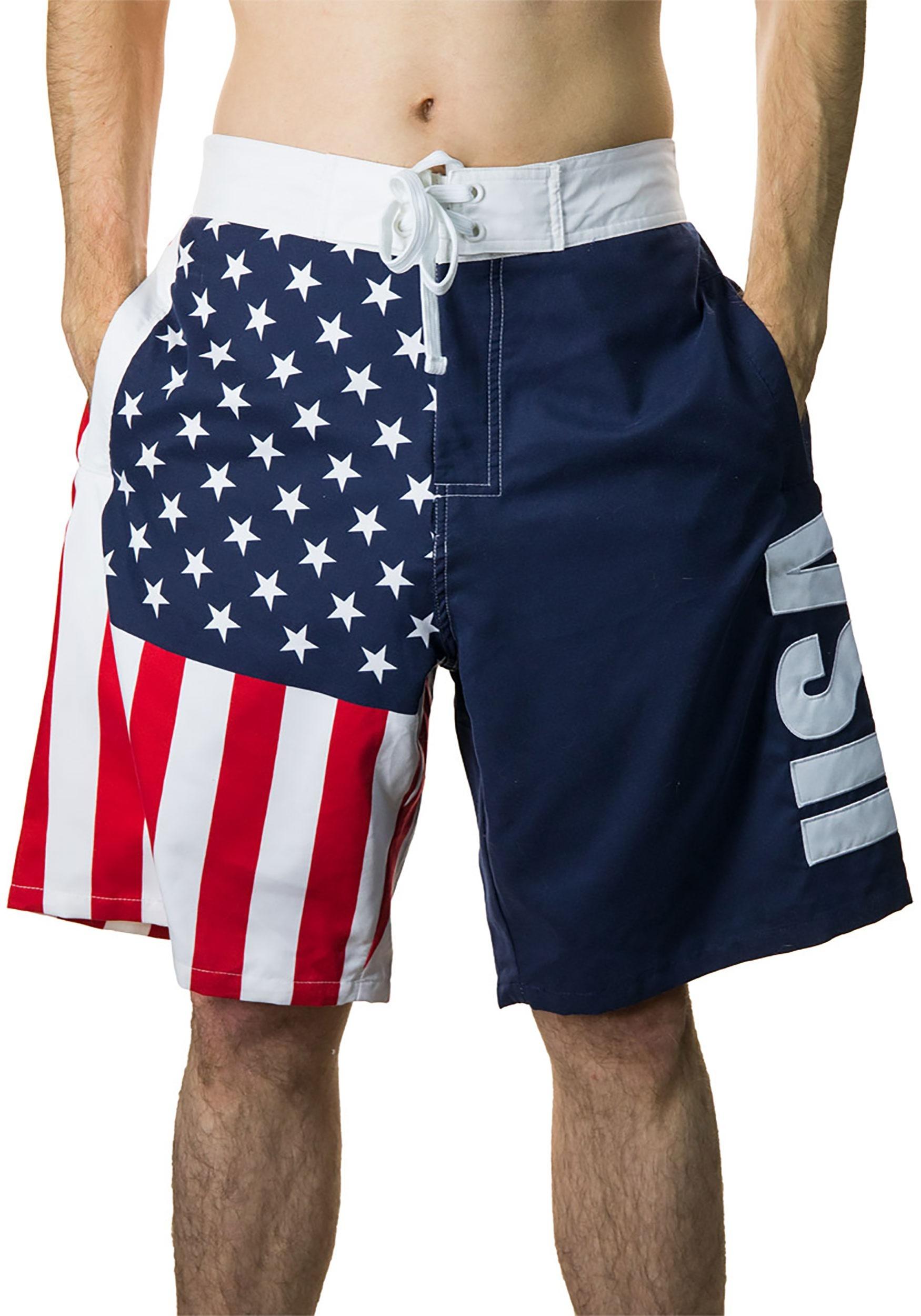 ce34978f8078 Men's USA Flag Fourth of July Swim Board Shorts1
