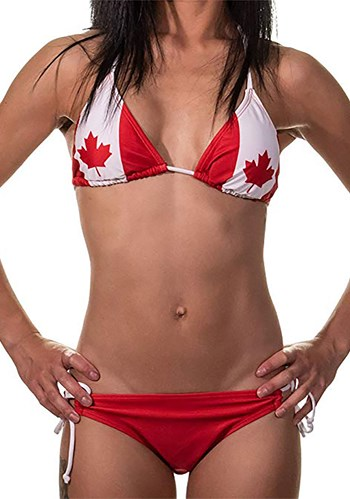 Womens Canadian Flag Tie Side Bikini New