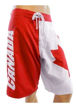 Mens Canadian Flag Swim Board Shorts