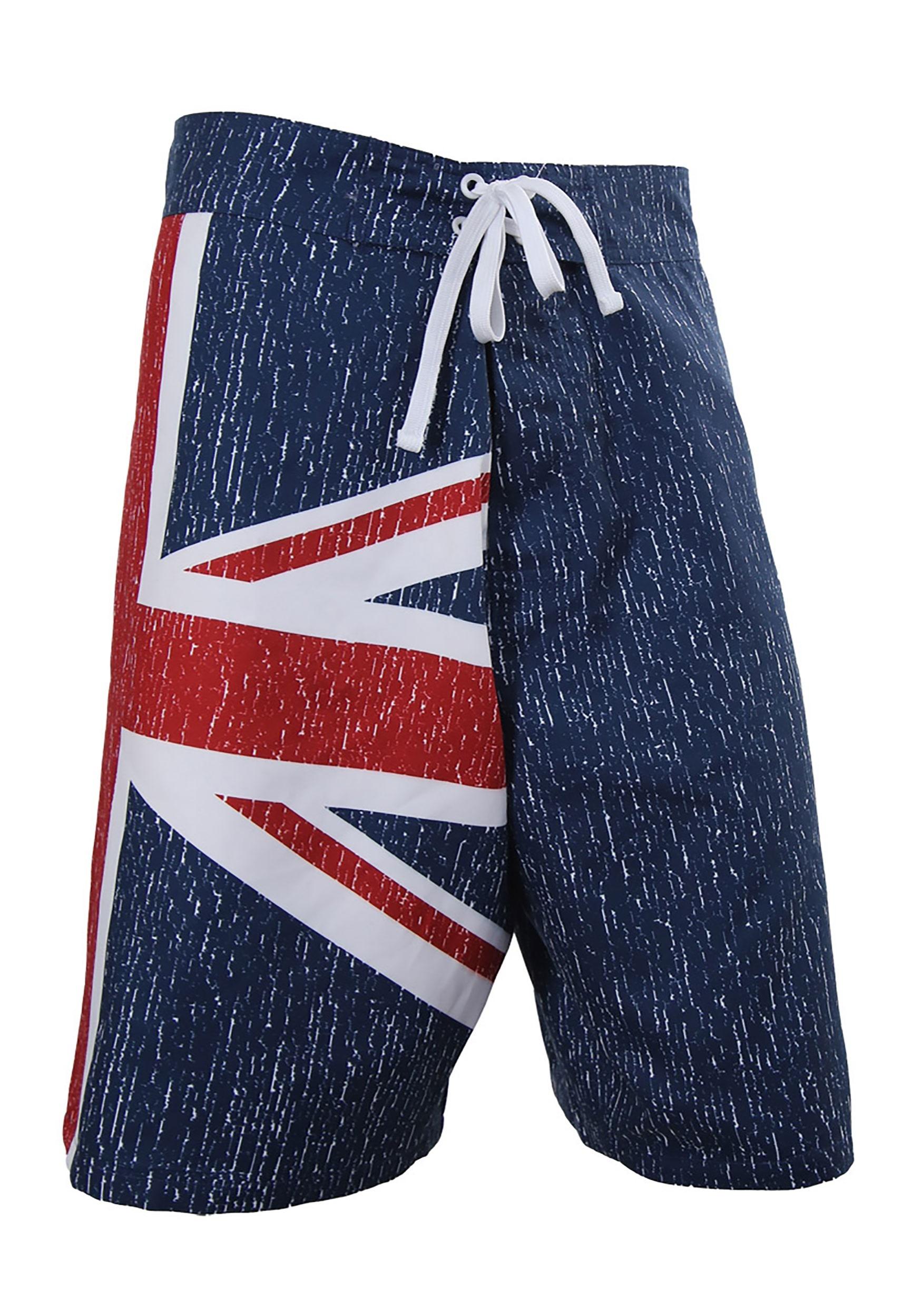 Mens UK Union Jack Flag Swim Board Shorts