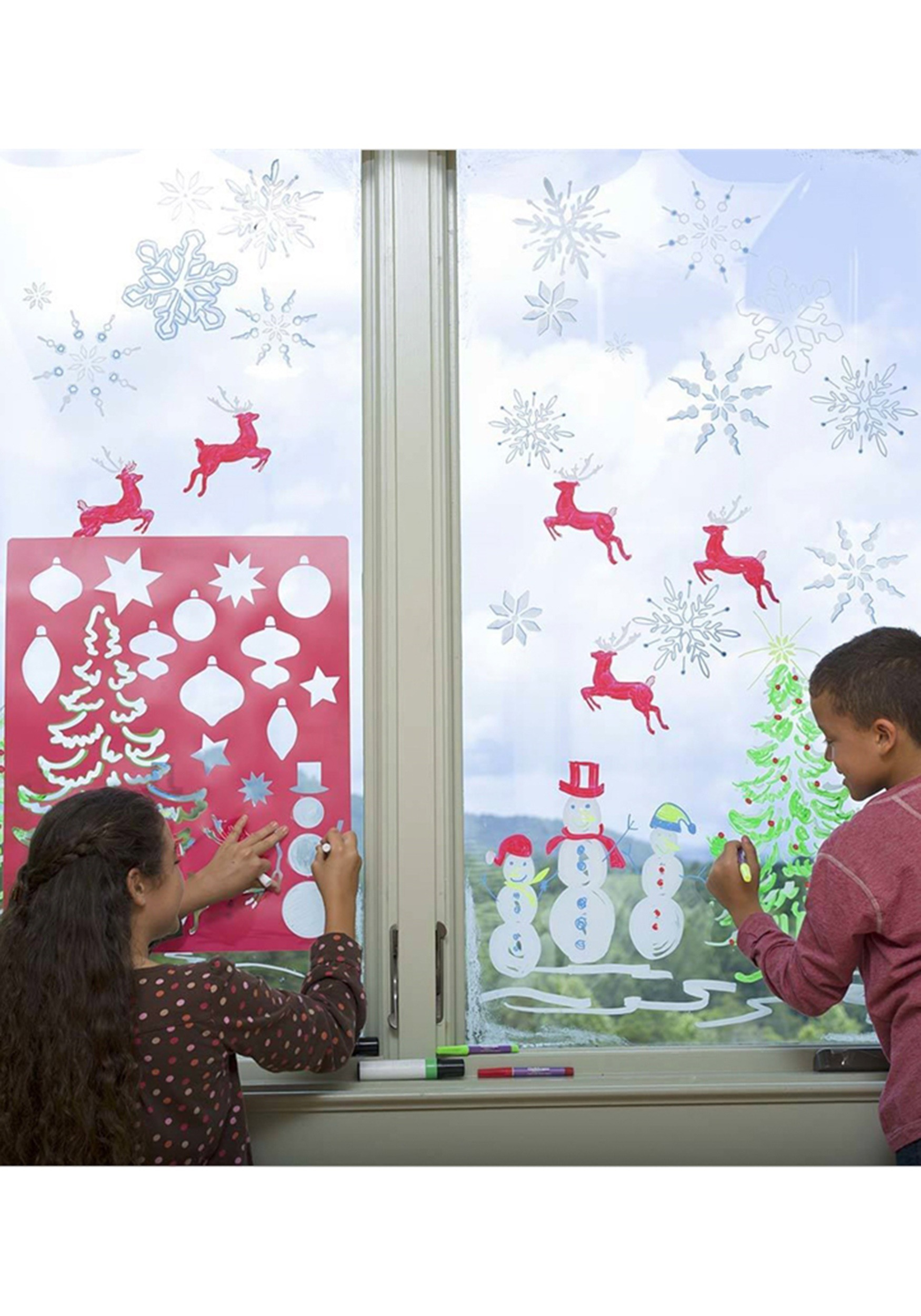 Holiday Stencils Set with Window Markers