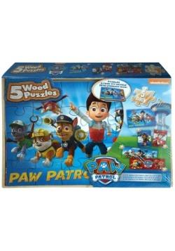 Paw Patrol 5pk Wood Jigsaw Puzzle Set1