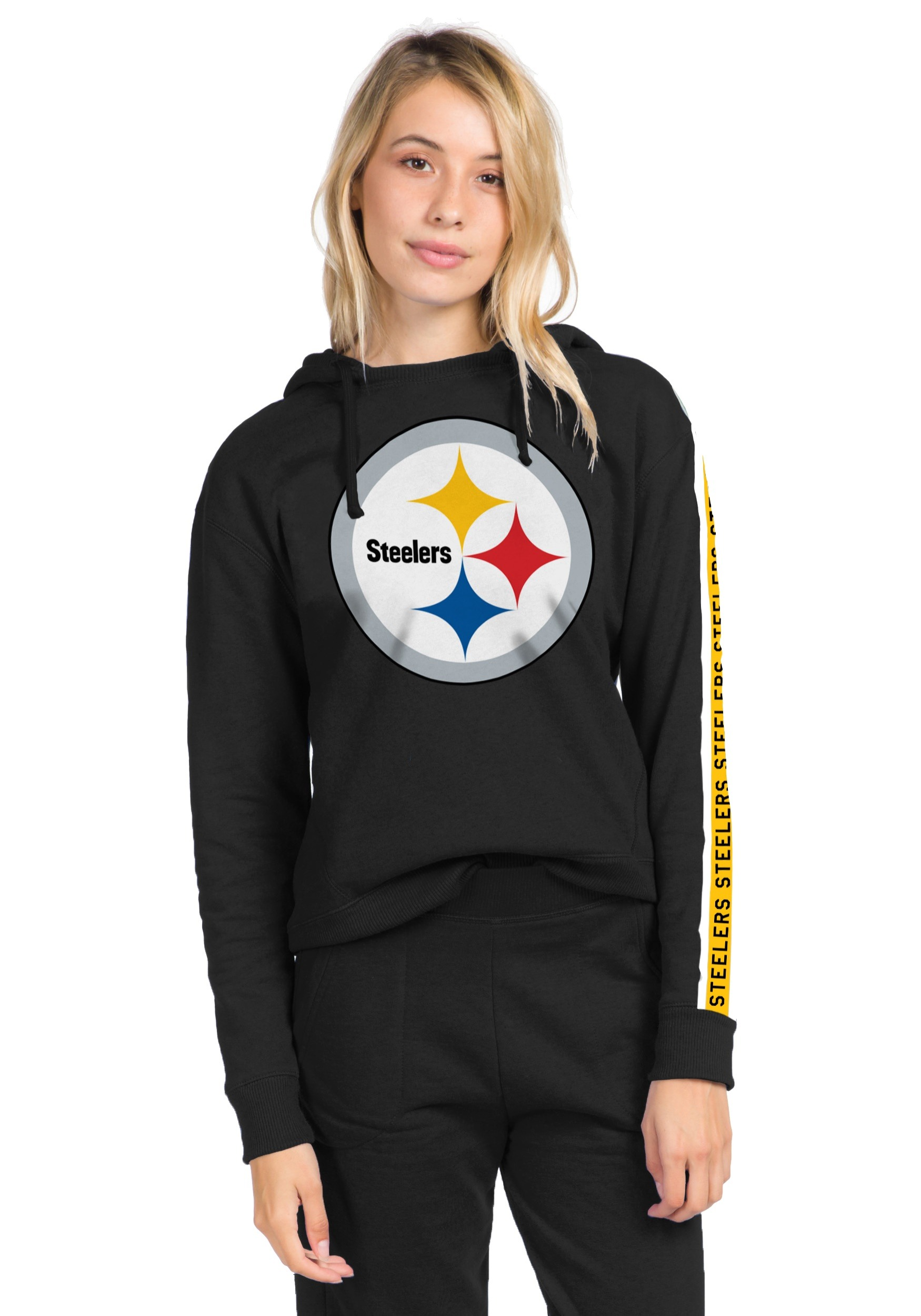 best service bb2da 97613 Women's True Black Pittsburgh Steelers Fleece Hoodie
