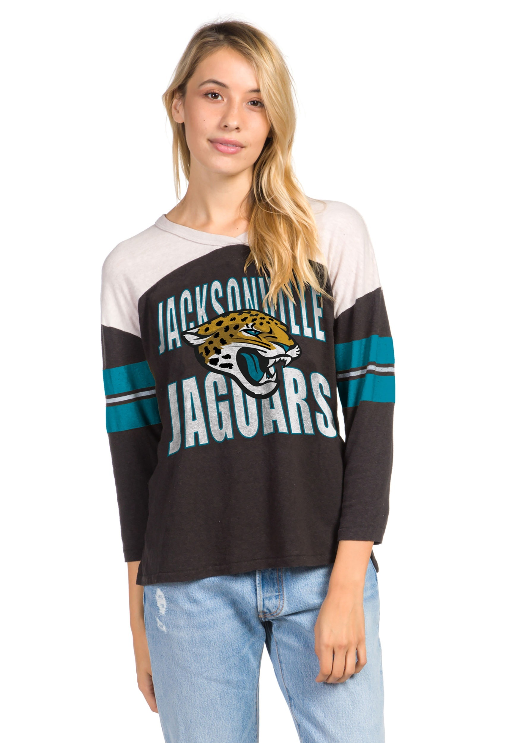 43fb7654 Women's Black Jacksonville Jaguars Throwback Tee