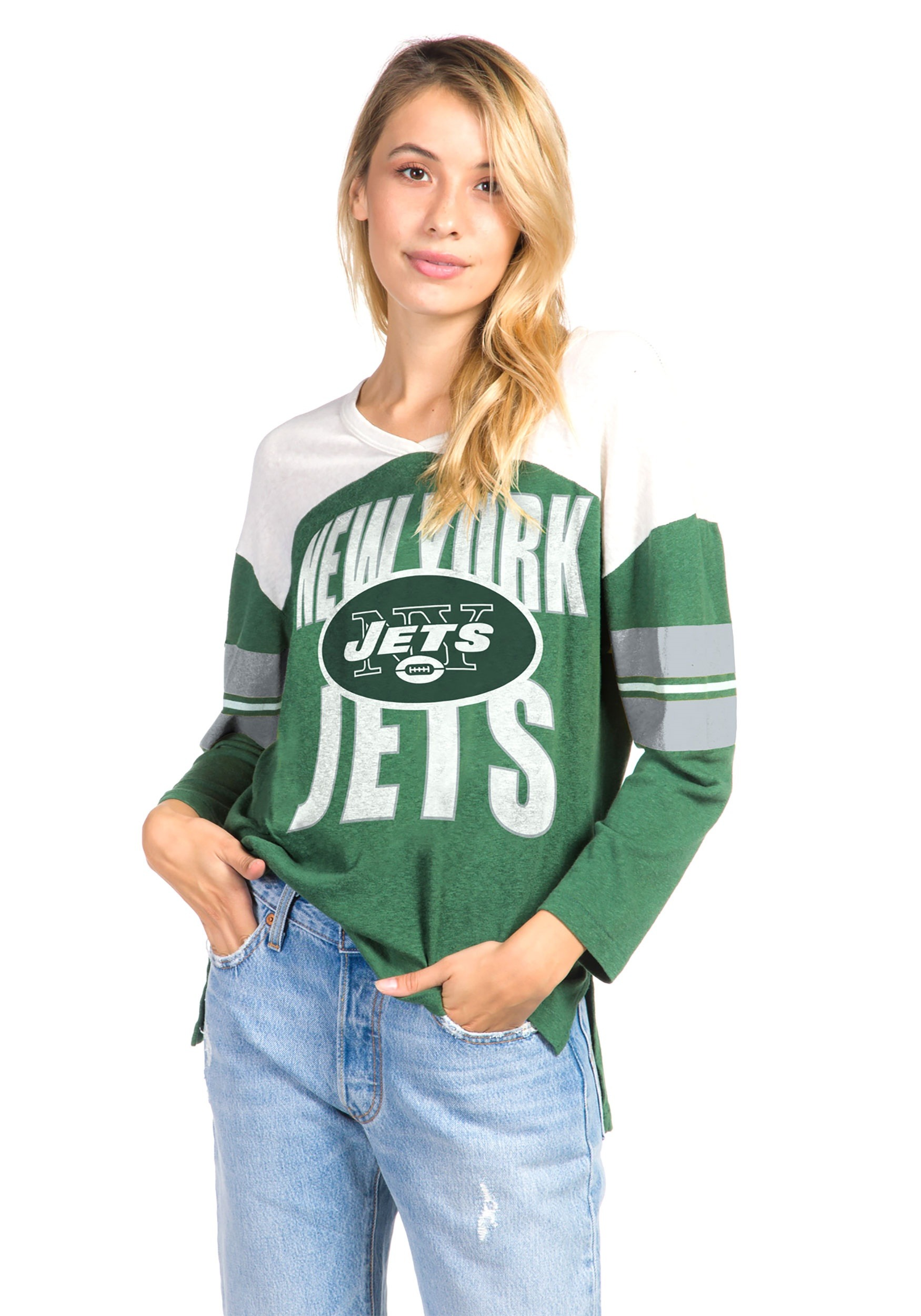 finest selection 5cefe 34a66 Women's Hunter Green New York Jets Throwback Football Tee