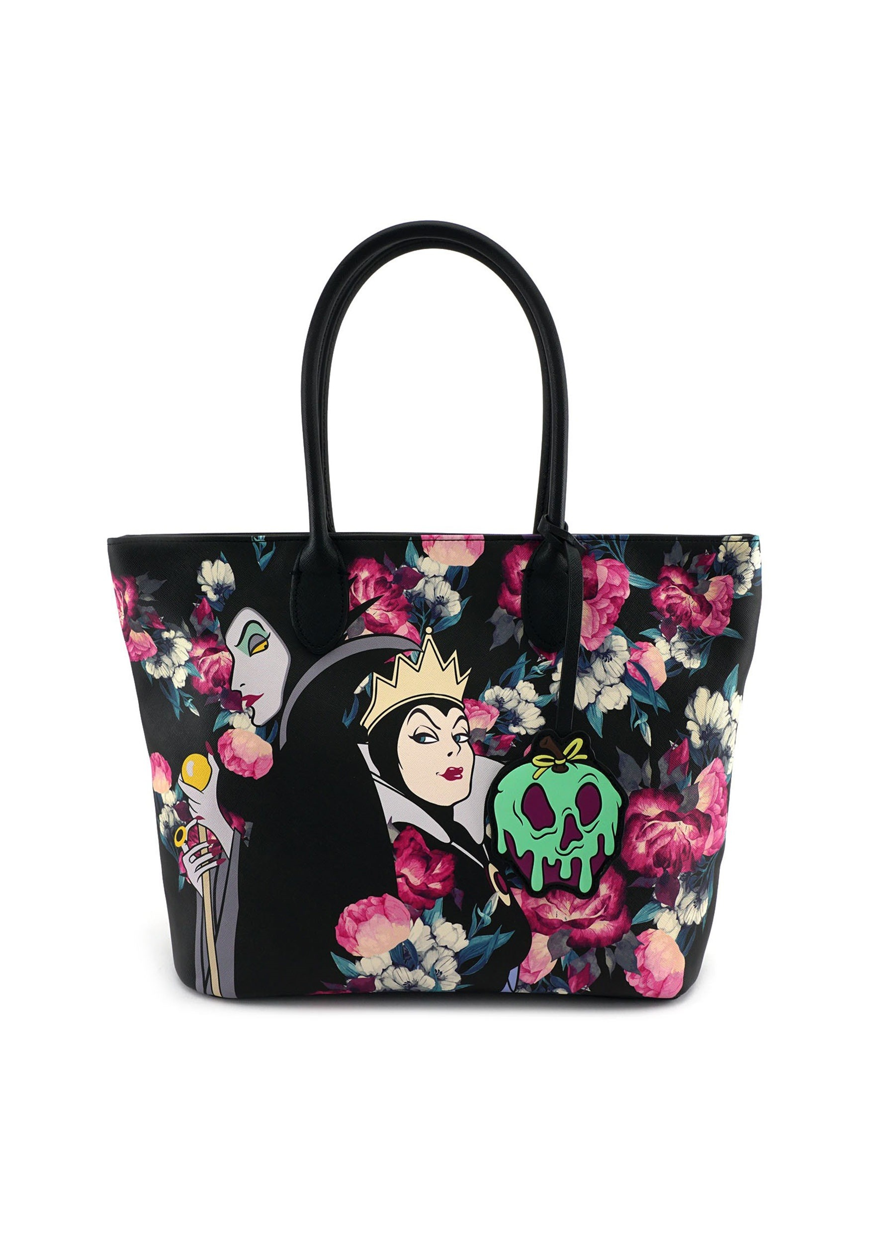 96bc30c1ad9 Women s Disney Villains Floral Faux Leather Tote by Loungefly