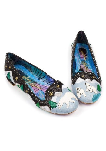 Irregular Choice Black Binksy Bear Sequin Heeled Flats