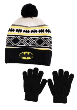 DC Batman Youth Knit Ski Hat with Gloves