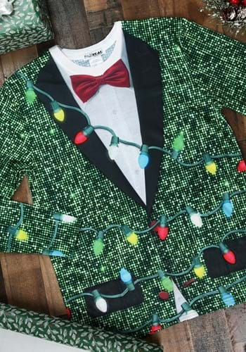 Sequin Suit with Lights Long Sleeve Ugly Christmas T-Shirt