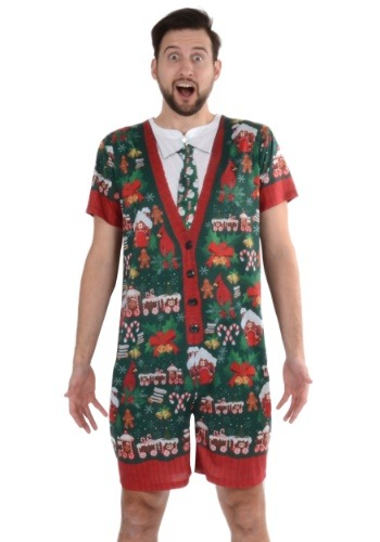 Men's Ugly Christmas Sweater Romper