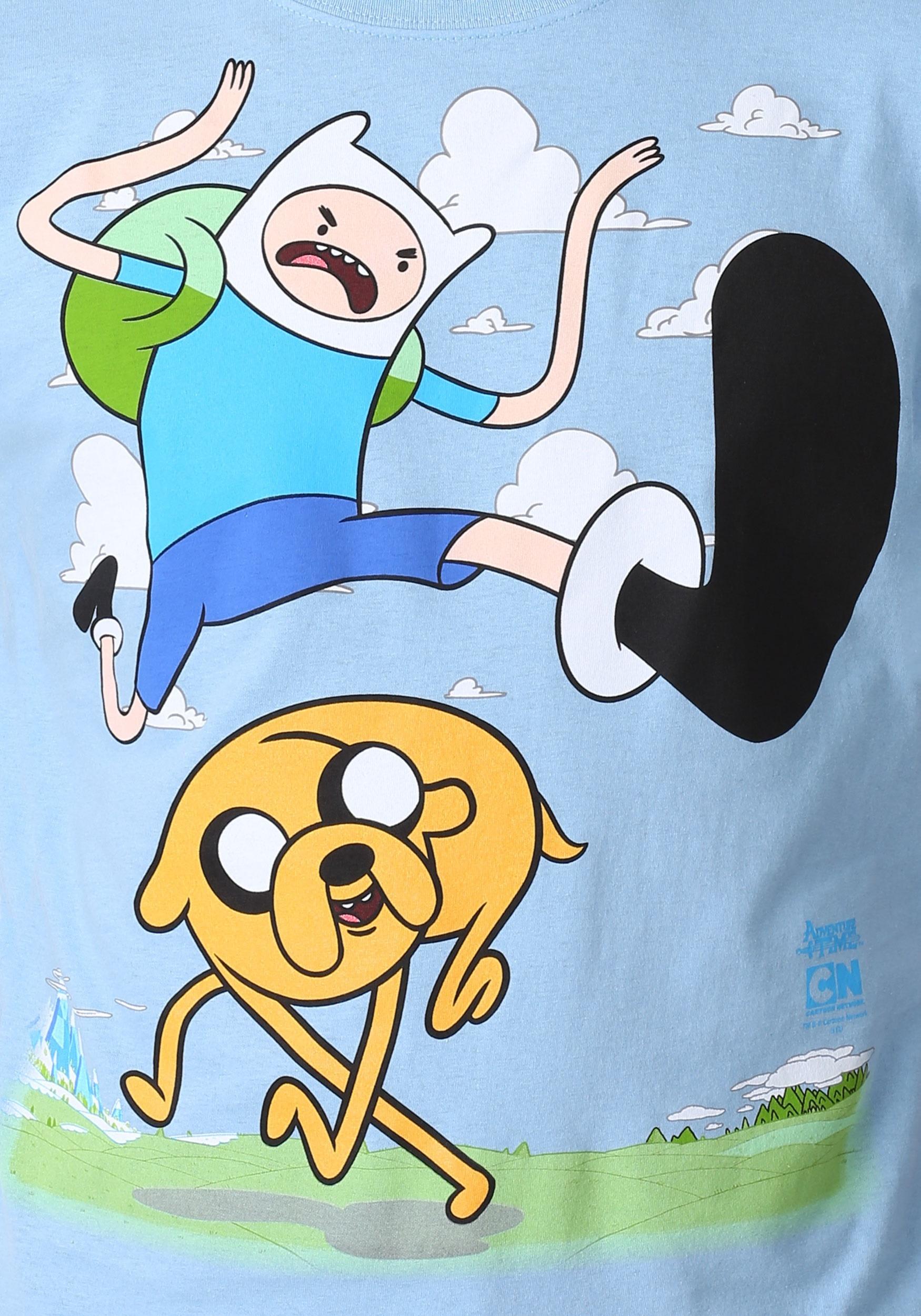 Adventure Time Finn Kick Jump Mens T-Shirt