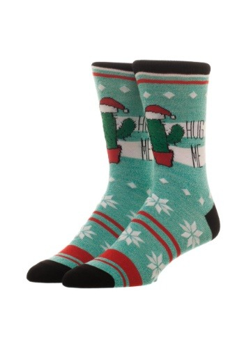 Free Authority Fairisle Hug Me Cactus Holiday Crew Socks1