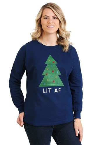 Threadpixel Lit AF Christmas Tree Womens Drop Shoulder updat