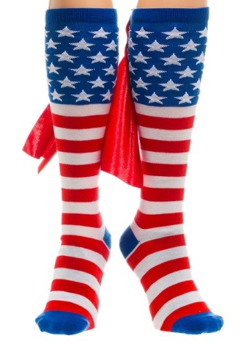 American Flag Knee High Cape Socks