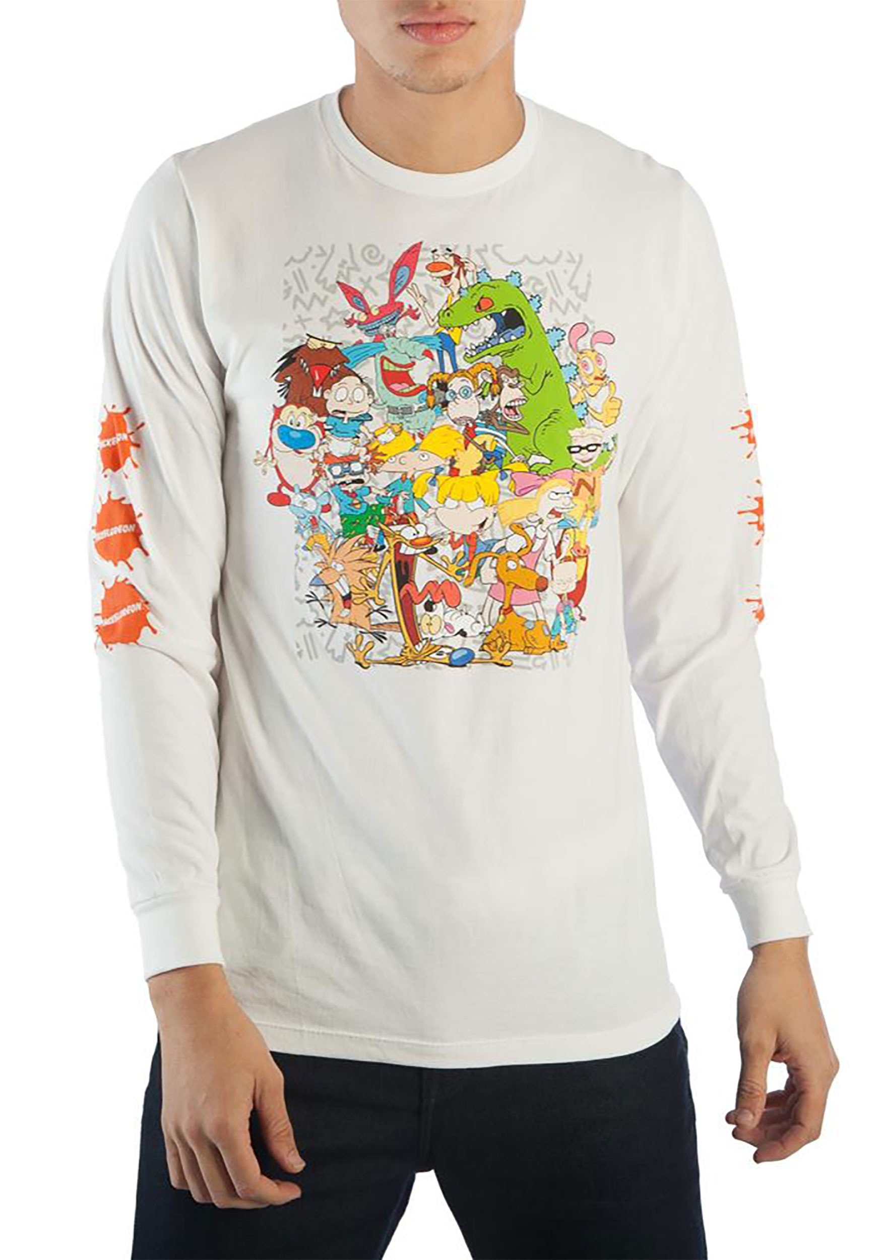 6a17f8d3cb6 Nickelodeon 90s Characters Group Long Sleeve Tee1