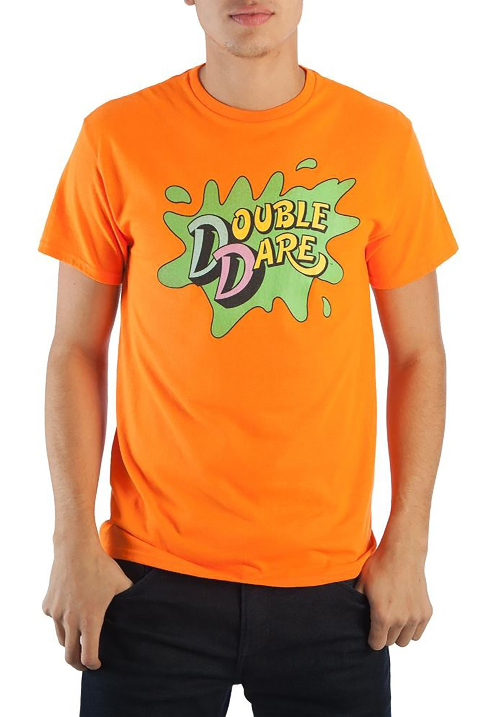 sc 1 st  Fun.com & Nickelodeon Double Dare Logo Menu0027s Tangerine T-Shirt