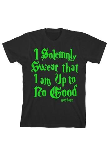 Harry Potter Boy's Solemnly Swear Glow In The Dark Black Tee
