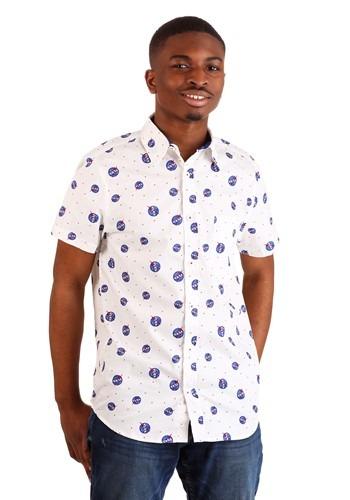 Men's NASA Logo White Woven Button Up Shirt