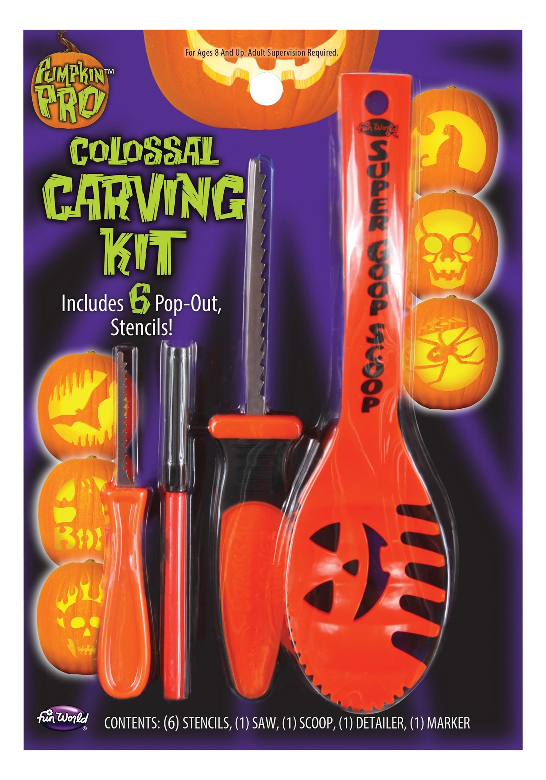 10 Piece Colossal Pumpkin Carving Kit - Orange