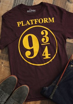 Platform 9 3/4 Harry Potter Men's Maroon Poly Linen Tee Upd