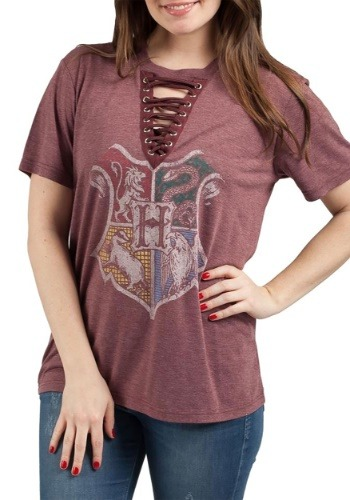 Harry Potter Hogwarts Crest Womens Lace-Up Tee