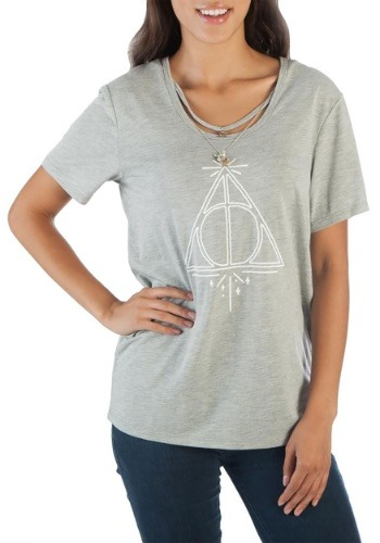 Harry Potter Deathly Hallows Women's Tee w/Charm Necklace1