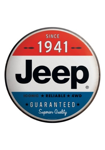 Round Jeep Tin Sign