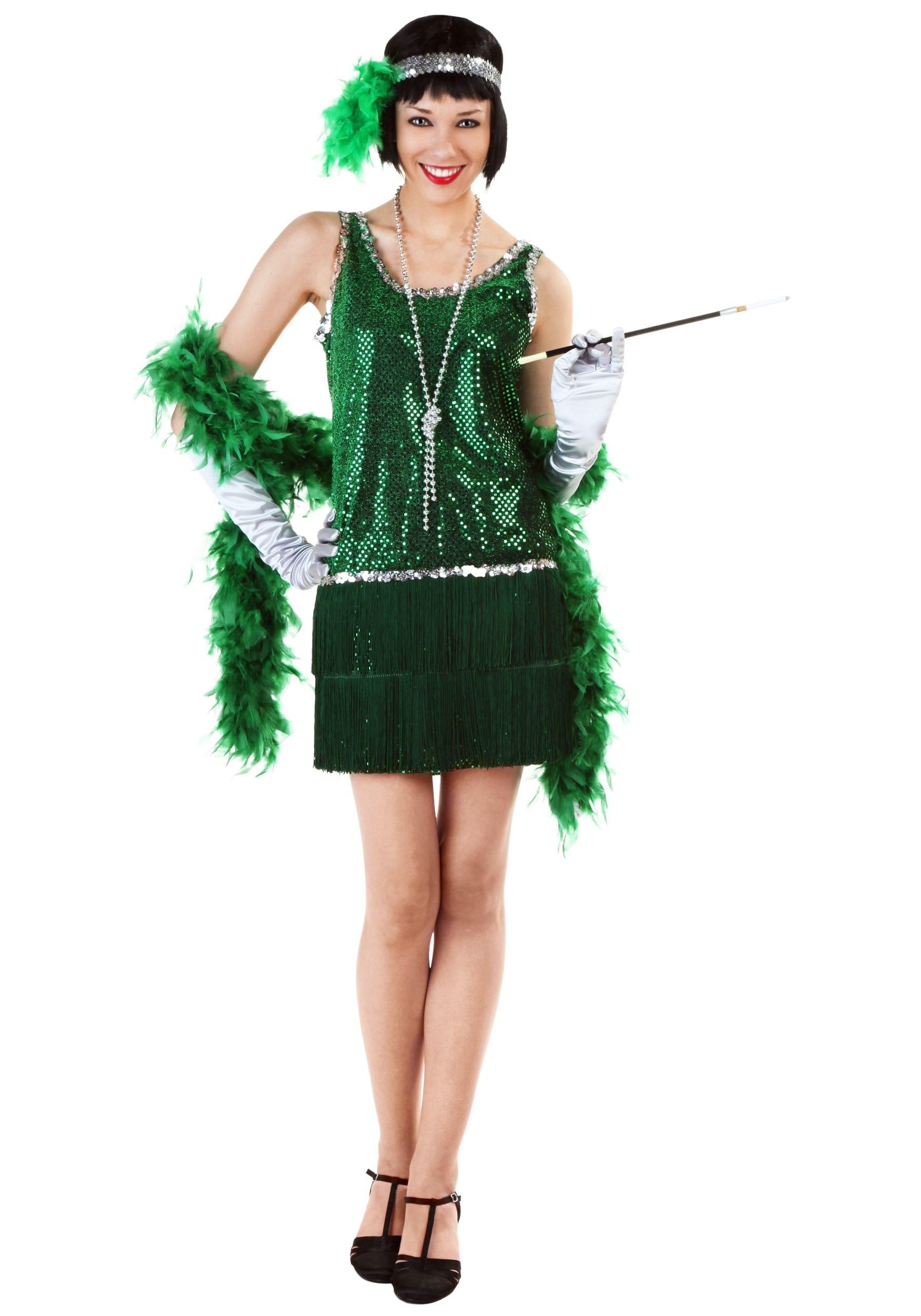 Adult Sequin & Fringe Green Flapper Costume FUN1000GR