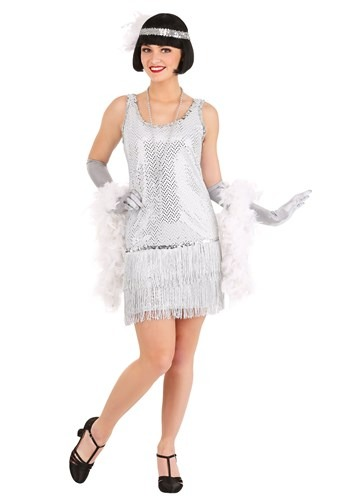 Women's Silver Sequin Flapper Dress Costume update5