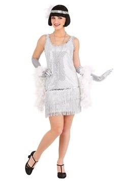 Women's Silver Sequin Flapper Dress Costume Update Main rc