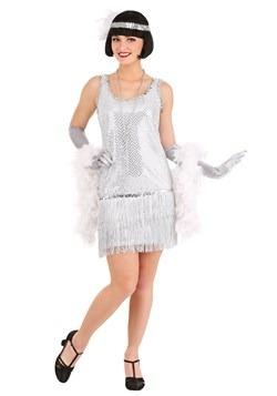 Women's Silver Sequin Flapper Dress