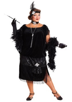Deluxe Black Flapper Plus Size Womens Costume