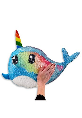 Reversible Sequin Narwhal Pillow