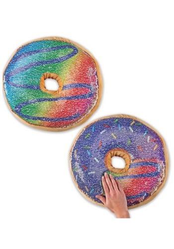 Reversible Sequin Multi Colored Doughnut Pillow