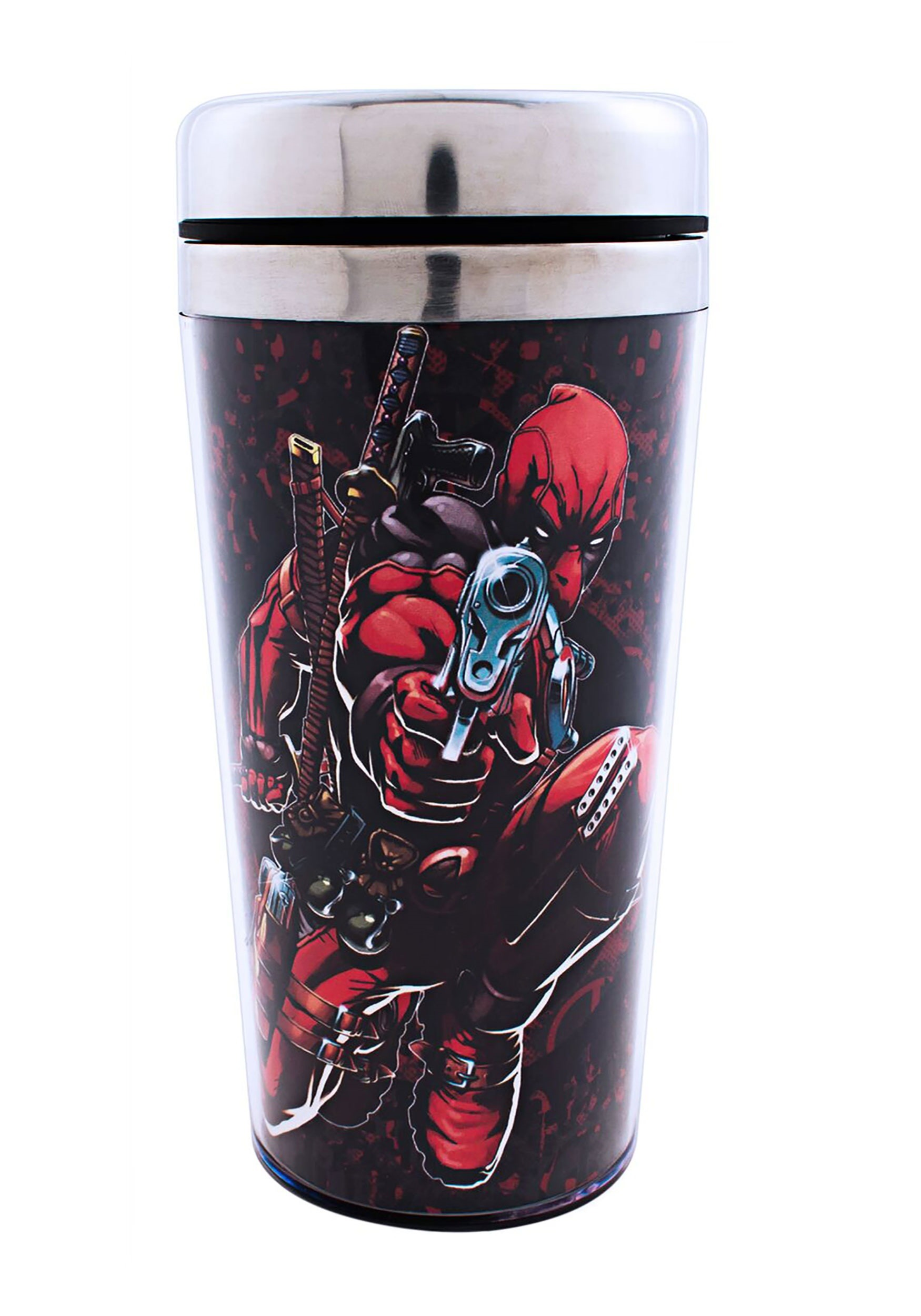 Marvel Deadpool Gunpoint Steel Travel Coffee Mug
