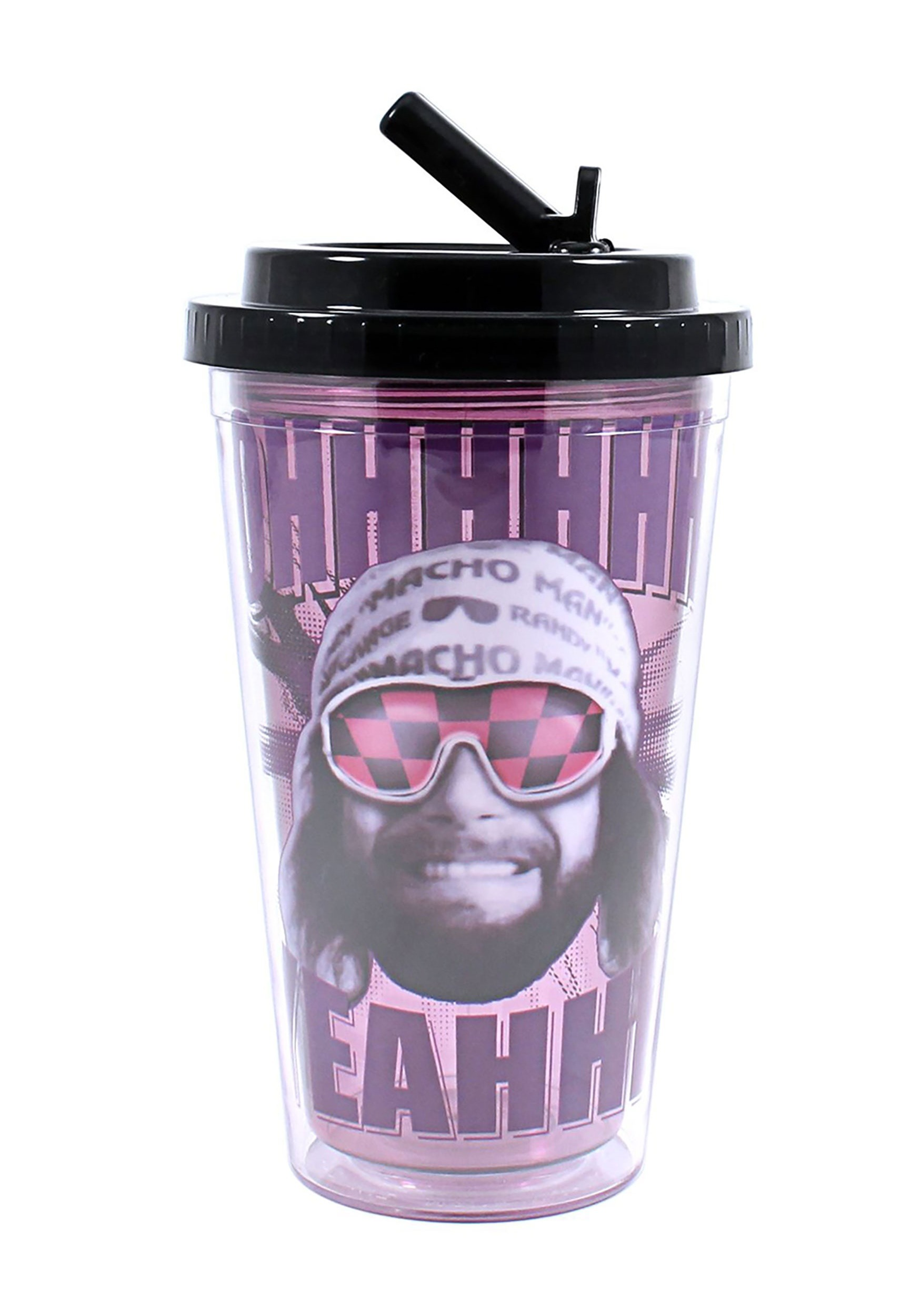 WWE Macho Man 16 oz Flip Straw Cold Cup SBWE1584