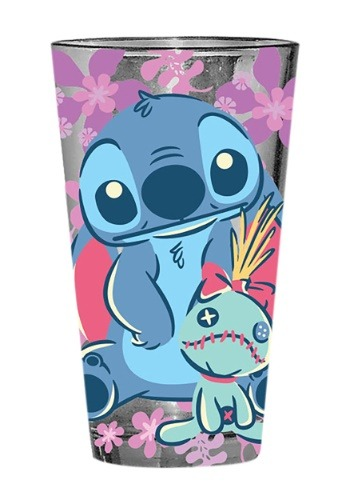 Lilo and Stitch Scrump Floral 16 oz Pint Glass1